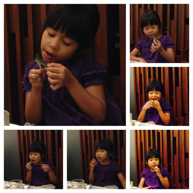 My youngest daughter enjoying some crispy kangkong at Cabalen.