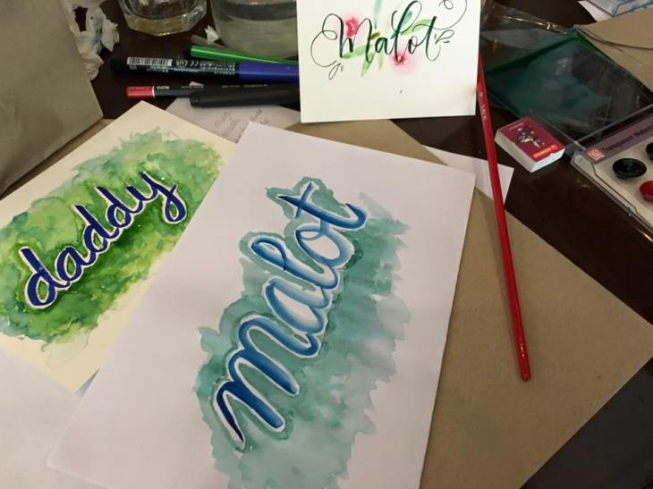 basic calligraphy with galaxies